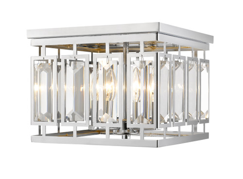 Z-Lite Mersesse Collection 4 Light Flush Mount in Chrome Finish, 6006F-CH