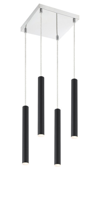 Z-Lite Forest Collection 4 Light Island/Billiard in Matte Black Finish