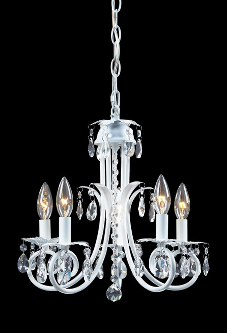 Z-Lite Pearl Collection 5 Light Crystal Chandelier in Gloss White Finish, 853W