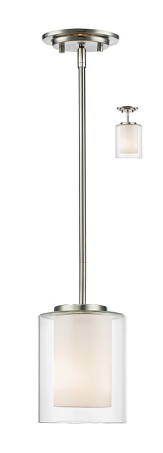 Z-Lite Willow Collection 1 Light Mini Pendant in Brushed Nickel Finish, 426MP-BN