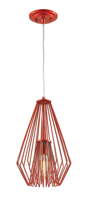 Z-Lite Quintus Collection 1 Light Mini Pendant in Red Finish, 442MP-RD
