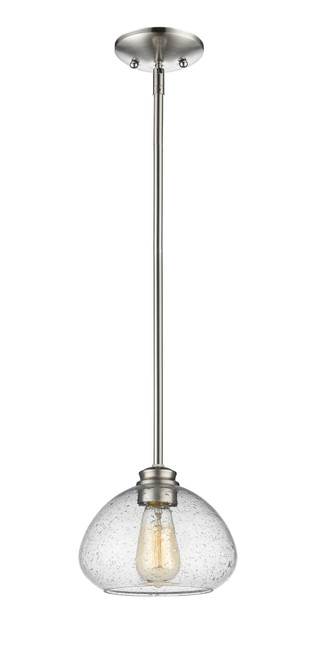 Z-Lite Amon Collection 1 Light Mini Pendant in Brushed Nickel Finish, 722MP-BN