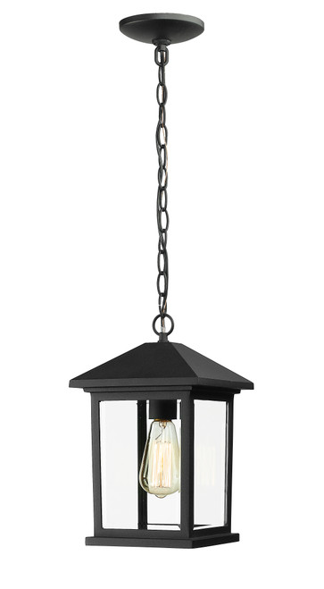 Z-Lite Portland Collection 1 Light Outdoor Chain Light in Black Finish, 531CHM-BK