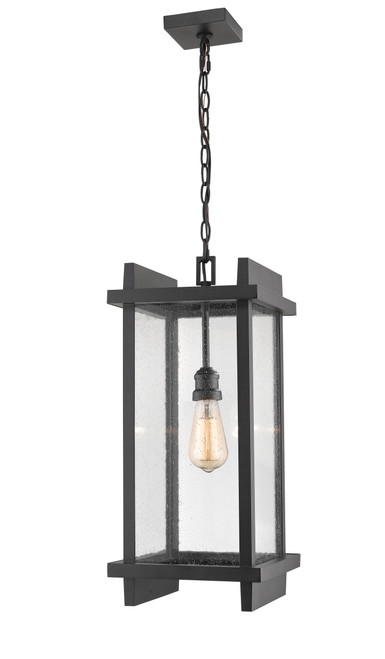 Z-Lite Fallow Collection 1 Light Outdoor Chain Mount Ceiling Fixture in Black Finish, 565CHB-BK