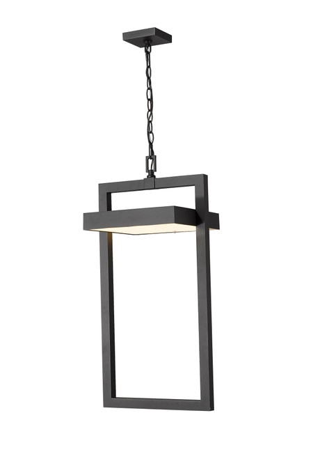 Z-Lite Luttrel Collection 1 Light Outdoor Chain Mount Ceiling Fixture in Black Finish, 566CHXL-BK-LED