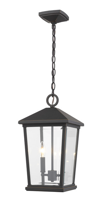 Z-Lite Beacon Collection 2 Light Outdoor Chain Mount Ceiling Fixture in Oil Rubbed Bronze Finish, 568CHB-ORB