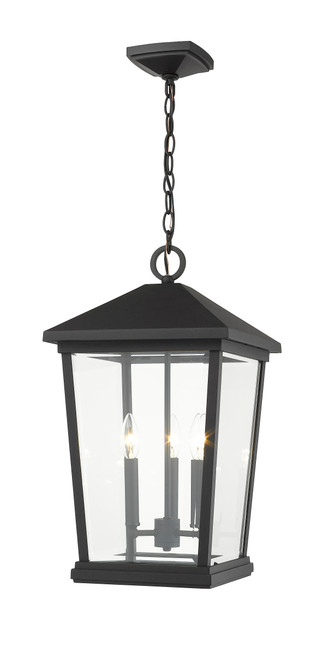 Z-Lite Beacon Collection 3 Light Outdoor Chain Mount Ceiling Fixture in Black Finish, 568CHXL-BK