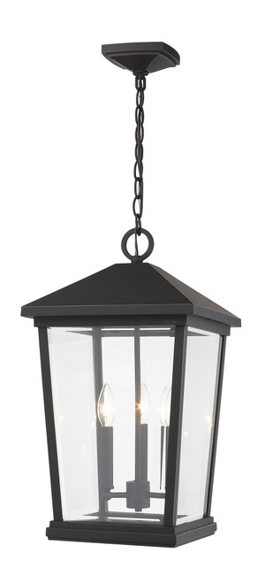 Z-Lite Beacon Collection 3 Light Outdoor Chain Mount Ceiling Fixture in Oil Rubbed Bronze Finish, 568CHXL-ORB