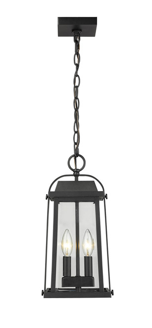 Z-Lite Millworks Collection 2 Light Outdoor Chain Mount Ceiling Fixture in Black Finish, 574CHM-BK
