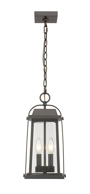 Z-Lite Millworks Collection 2 Light Outdoor Chain Mount Ceiling Fixture in Oil Rubbed Bronze Finish, 574CHM-ORB