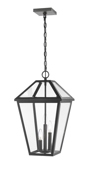 Z-Lite Talbot Collection 3 Light Outdoor Chain Mount Ceiling Fixture in Black Finish, 579CHXL-BK