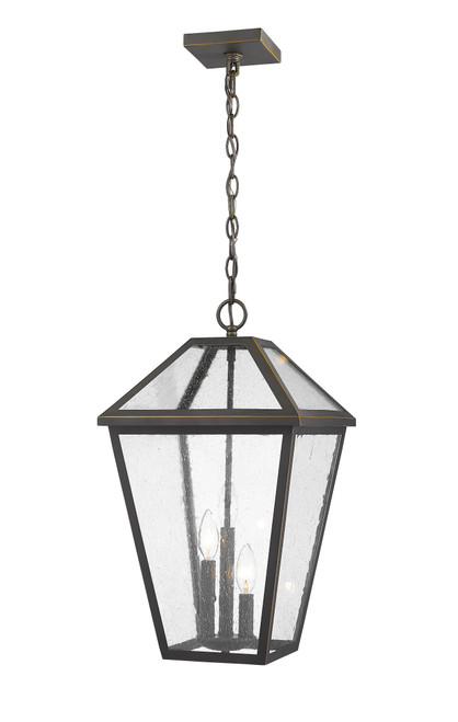 Z-Lite Talbot Collection 3 Light Outdoor Chain Mount Ceiling Fixture in Oil Rubbed Bronze Finish, 579CHXL-ORB