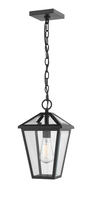 Z-Lite Talbot Collection 1 Light Outdoor Chain Mount Ceiling Fixture in Black Finish, 579CHM-BK