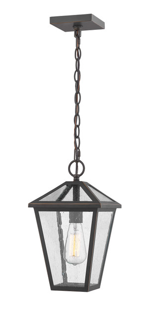 Z-Lite Talbot Collection 1 Light Outdoor Chain Mount Ceiling Fixture in Oil Rubbed Bronze Finish, 579CHM-ORB