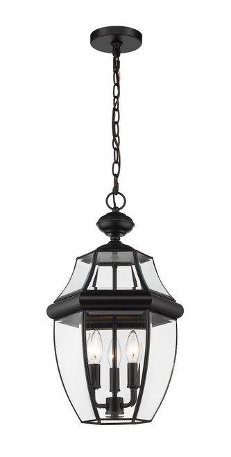 Z-Lite Westover Collection 3 Light Outdoor Chain Mount Ceiling Fixture in Black Finish, 580CHB-BK