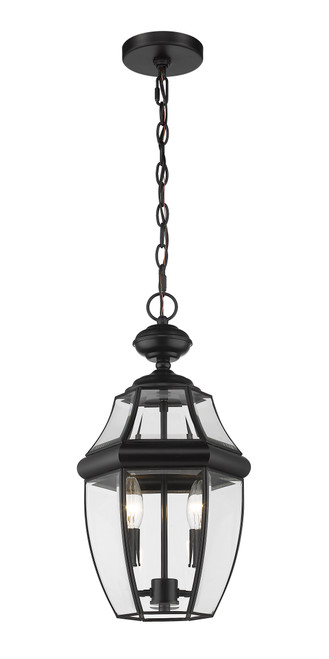 Z-Lite Westover Collection 2 Light Outdoor Chain Mount Ceiling Fixture in Black Finish, 580CHM-BK