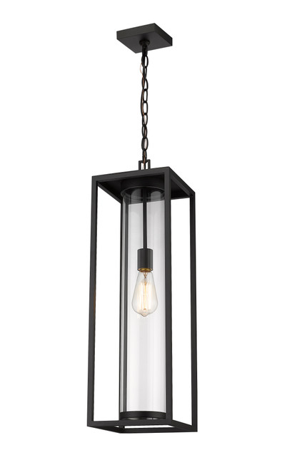 Z-Lite Dunbroch Collection 1 Light Outdoor Chain Mount Ceiling Fixture in Black Finish, 584CHB-BK