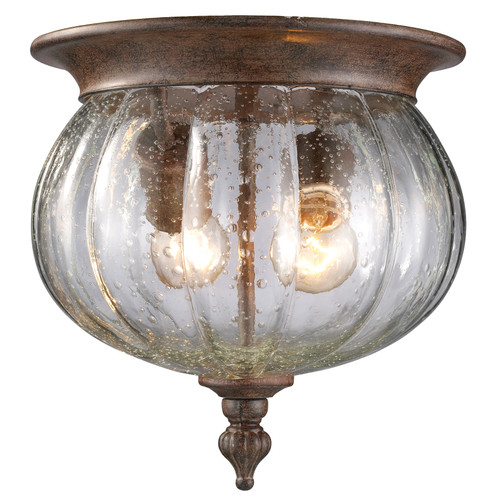 Z-Lite Belmont Collection Outdoor Flush Mount Light in Weathered Bronze Finish, 516F-WB