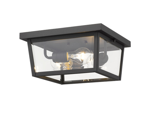 Z-Lite Beacon Collection 3 Light Outdoor Flush Ceiling Mount Fixture in Black Finish, 568F-BK