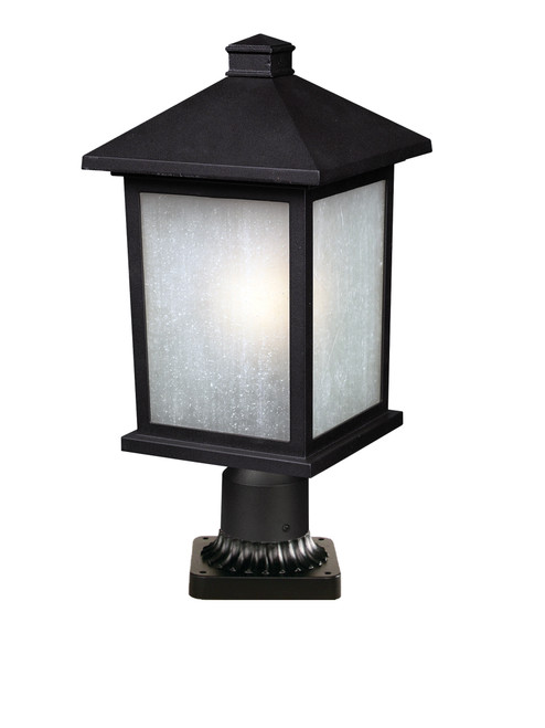Z-Lite Holbrook Collection 1 Light Outdoor Post Mount Light in Black Finish, 507PHB-BK-PM