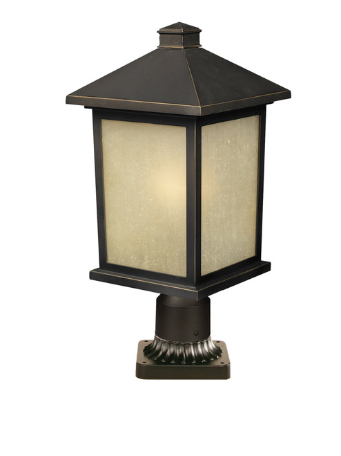 Z-Lite Holbrook Collection 1 Light Outdoor Post Mount Light in Oil Rubbed Bronze Finish, 507PHB-ORB-PM