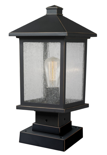 Z-Lite Portland Collection 1 Light Outdoor Pier Mount Light in Oil Rubbed Bronze Finish