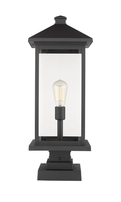 Z-Lite Portland Collection 1 Light Outdoor Pier Mounted Fixture in Black Finish, 531PHBXLS-SQPM-BK