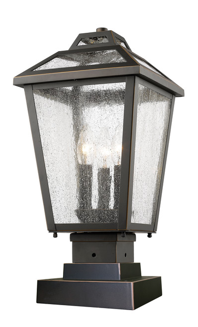 Z-Lite Bayland Collection 3 Light Outdoor Pier Mount Light in Oil Rubbed Bronze Finish, 539PHMS-SQPM-ORB