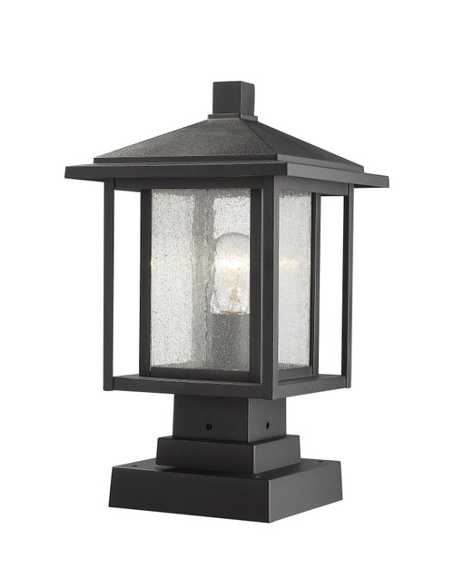 Z-Lite Aspen Collection 1 Light Outdoor Pier Mounted Fixture in Black Finish, 554PHMS-SQPM-BK