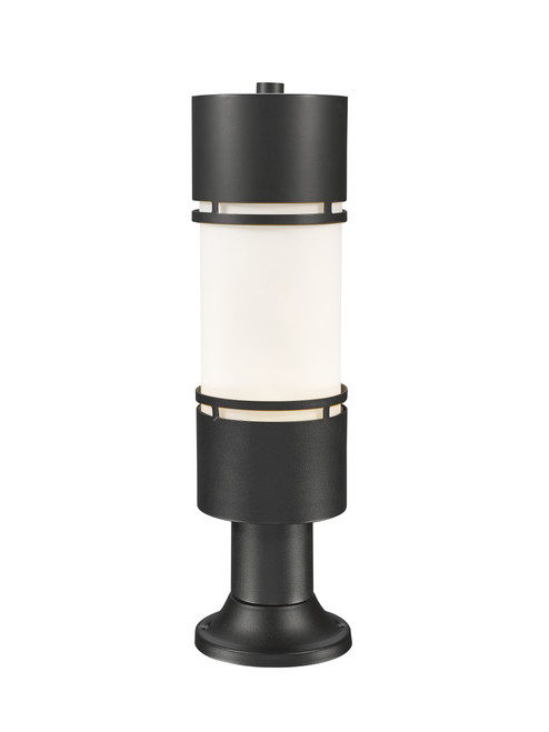 Z-Lite Luminata Collection Outdoor LED Post Mount Light with Pier Mount in Black Finish, 560PHB-553PM-BK-LED