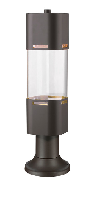 Z-Lite Lestat Collection 1 Light Outdoor LED Post Head with Pier Mount in Deep Bronze Finish, 562PHBR-553PM-DBZ-LE