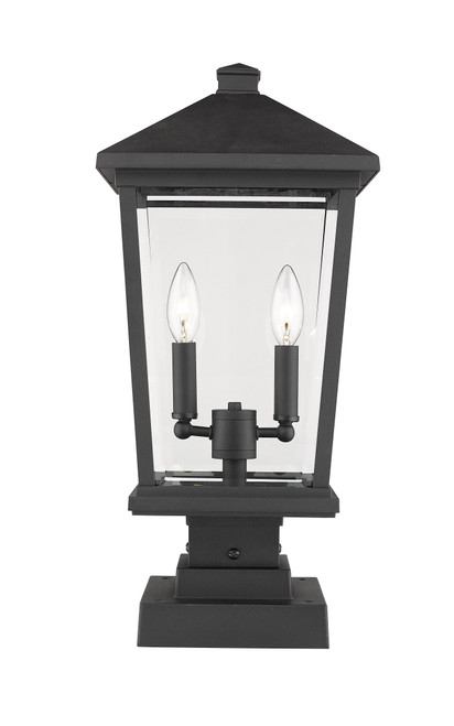 Z-Lite Beacon Collection 2 Light Outdoor Pier Mounted Fixture in Black Finish, 568PHBS-SQPM-BK