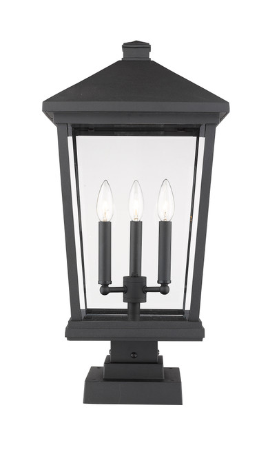 Z-Lite Beacon Collection 3 Light Outdoor Pier Mounted Fixture in Black Finish, 568PHXLS-SQPM-BK