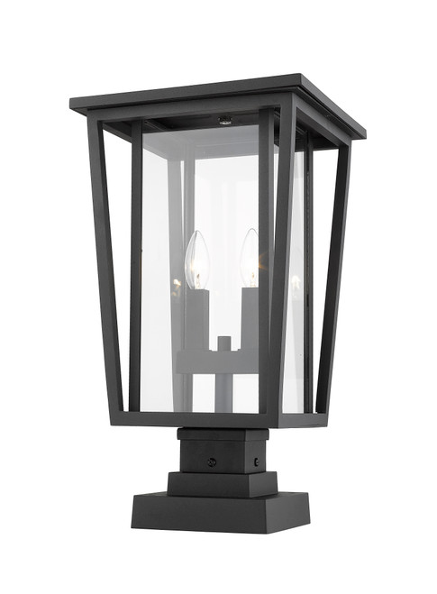 Z-Lite Seoul Collection 2 Light Outdoor Pier Mounted Fixture in Black Finish, 571PHBS-SQPM-BK