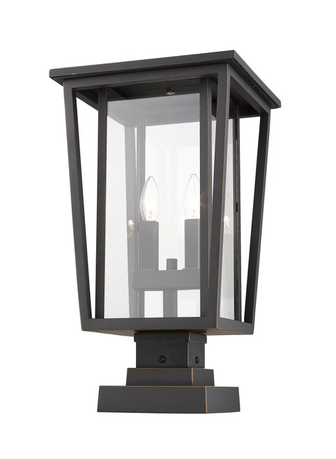 Z-Lite Seoul Collection 2 Light Outdoor Pier Mounted Fixture in Oil Rubbed Bronze Finish, 571PHBS-SQPM-ORB