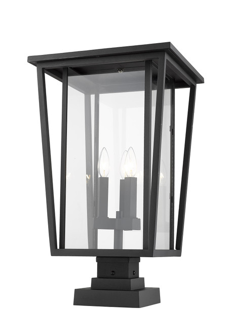 Z-Lite Seoul Collection 3 Light Outdoor Pier Mounted Fixture in Black Finish, 571PHXLS-SQPM-BK