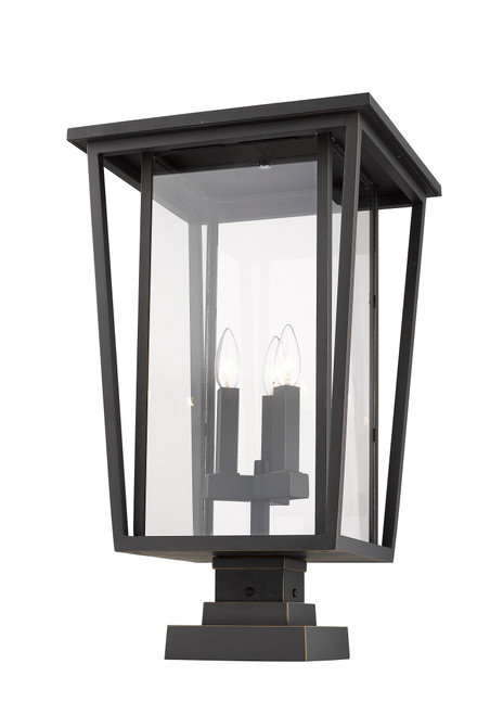 Z-Lite Seoul Collection 3 Light Outdoor Pier Mounted Fixture in Oil Rubbed Bronze Finish, 571PHXLS-SQPM-ORB