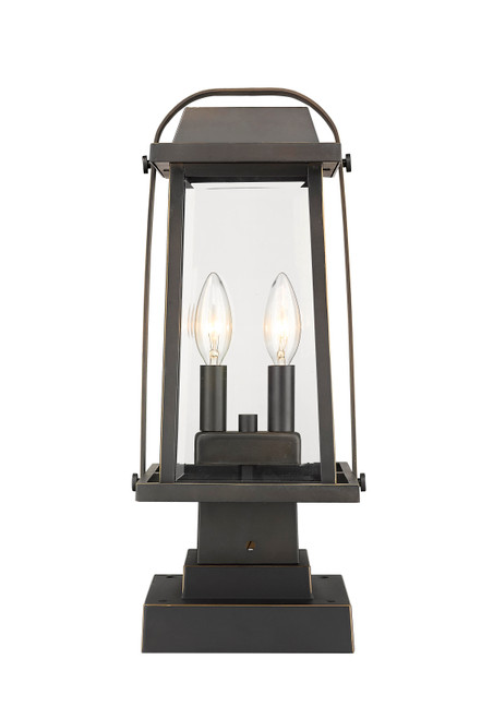 Z-Lite Millworks Collection 2 Light Outdoor Pier Mounted Fixture in Oil Rubbed Bronze Finish, 574PHMS-SQPM-ORB