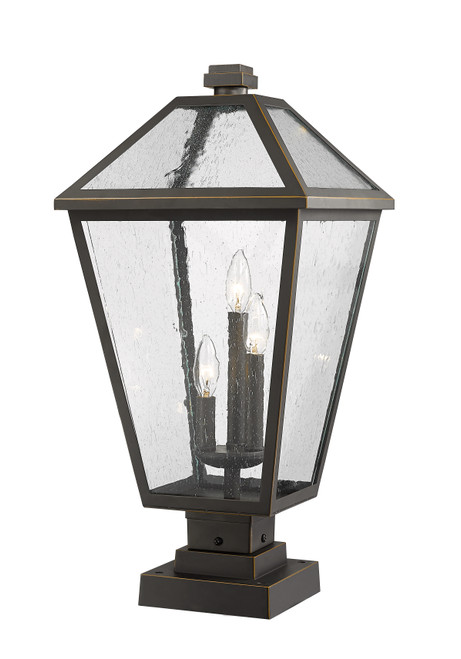 Z-Lite Talbot Collection 3 Light Outdoor Pier Mounted Fixture in Oil Rubbed Bronze Finish, 579PHXLS-SQPM-ORB