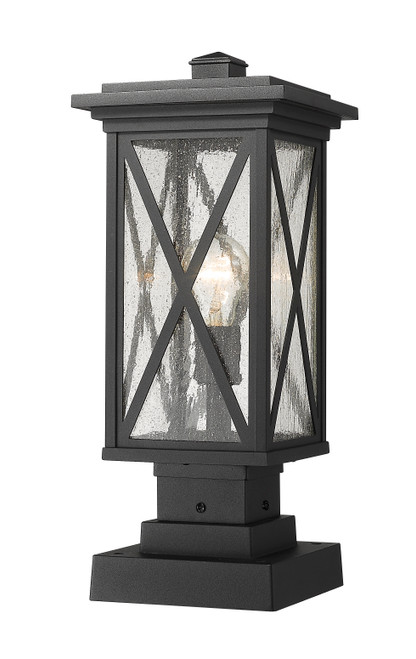 Z-Lite Brookside Collection 1 Light Outdoor Pier Mounted Fixture in Black Finish, 583PHMS-SQPM-BK