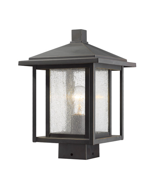 Z-Lite Aspen Collection 1 Light Outdoor Post Mount Fixture in Oil Rubbed Bronze Finish, 554PHMS-ORB
