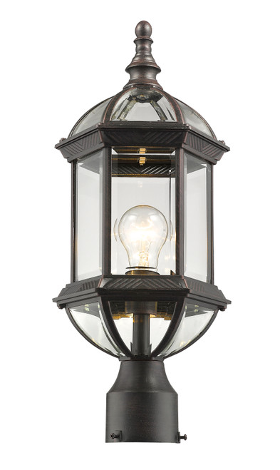Z-Lite Annex Collection 1 Light Outdoor Post Mount in Rust Finish, 563PHM-RT