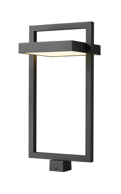 Z-Lite Luttrel Collection 1 Light Outdoor Post Mount Fixture in Black Finish, 566PHXLS-BK-LED