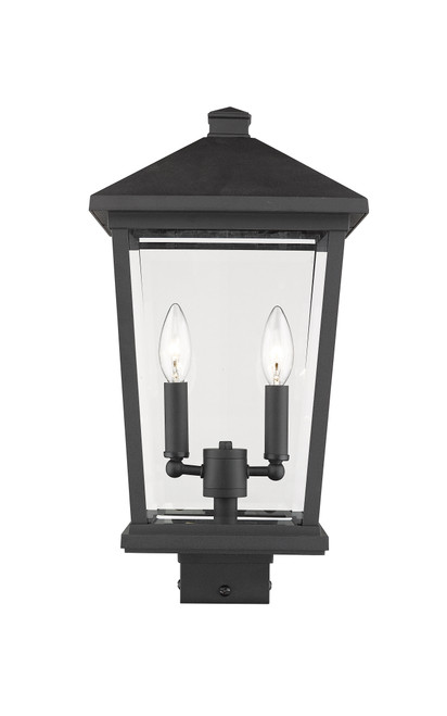 Z-Lite Beacon Collection 2 Light Outdoor Post Mount Fixture in Black Finish, 568PHBS-BK