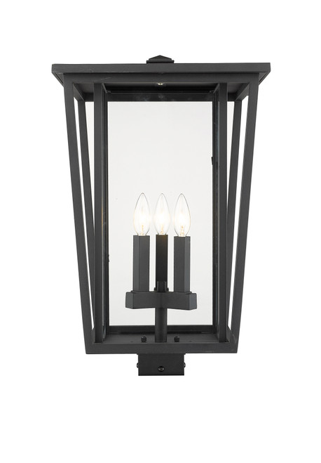 Z-Lite Seoul Collection 3 Light Outdoor Post Mount Fixture in Black Finish, 571PHXLS-BK