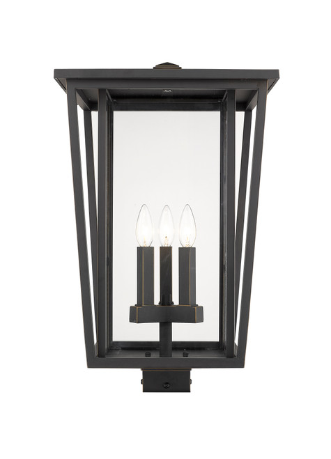 Z-Lite Seoul Collection 3 Light Outdoor Post Mount Fixture in Oil Rubbed Bronze Finish, 571PHXLS-ORB