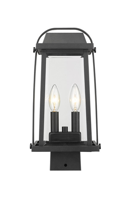Z-Lite Millworks Collection 2 Light Outdoor Post Mount Fixture in Black Finish, 574PHMS-BK