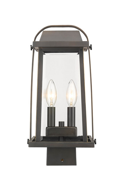 Z-Lite Millworks Collection 2 Light Outdoor Post Mount Fixture in Oil Rubbed Bronze Finish, 574PHMS-ORB