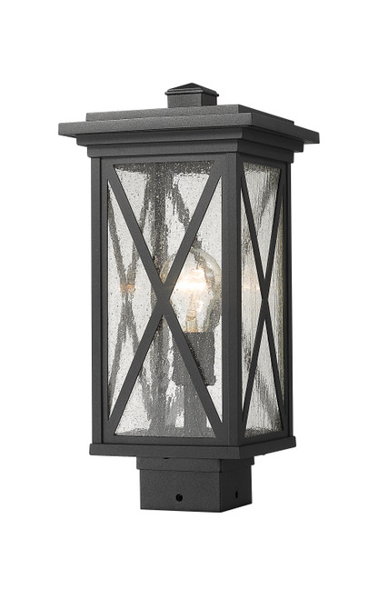 Z-Lite Brookside Collection 1 Light Outdoor Post Mount Fixture in Black Finish, 583PHMS-BK