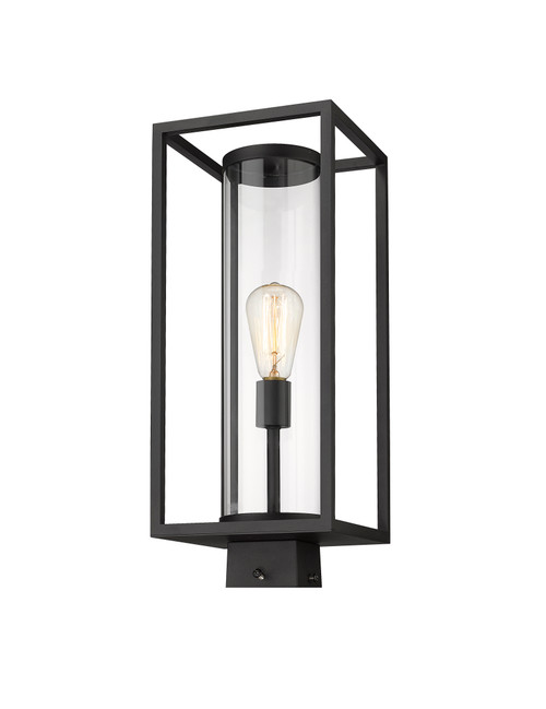 Z-Lite Dunbroch Collection 1 Light Outdoor Post Mount Fixture in Black Finish, 584PHMS-BK